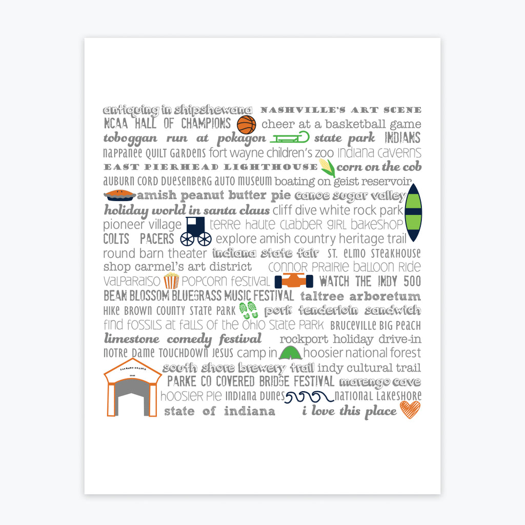 Art Print - Indiana Bucket List