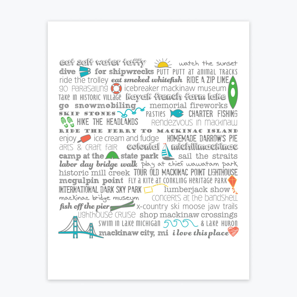 Art Print - Mackinaw City Bucket List - Tandem For Two