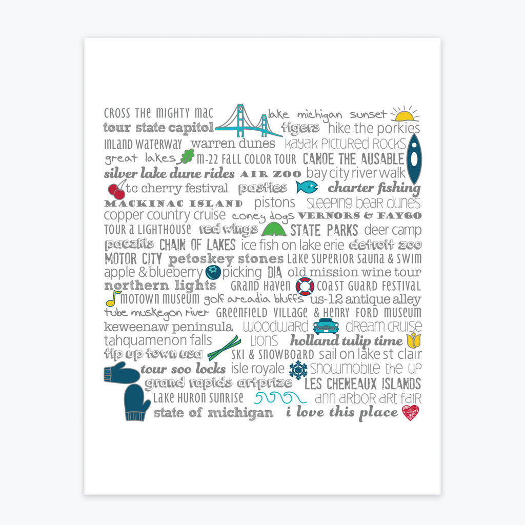 Art Print - Michigan Bucket List