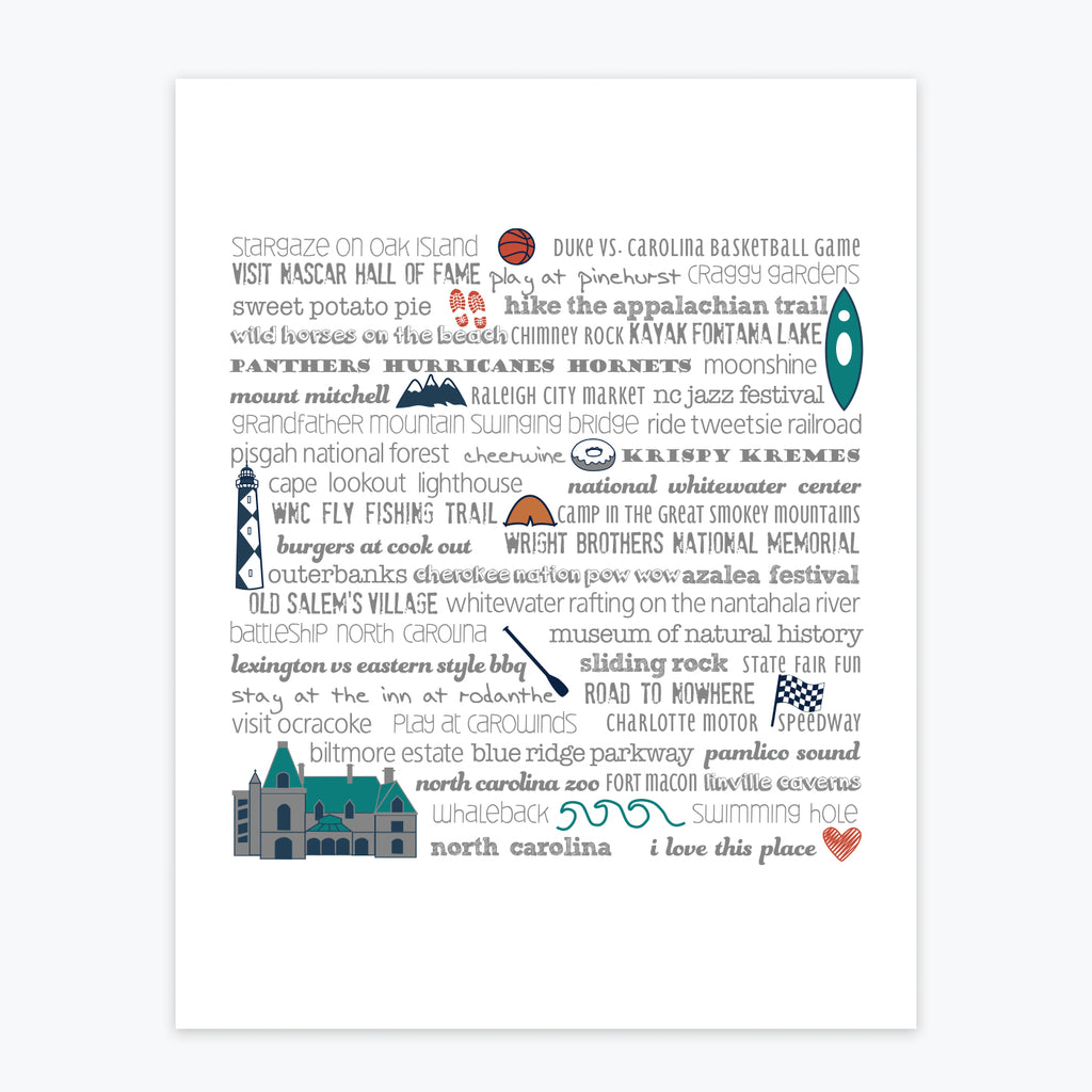Art Print - North Carolina Bucket List