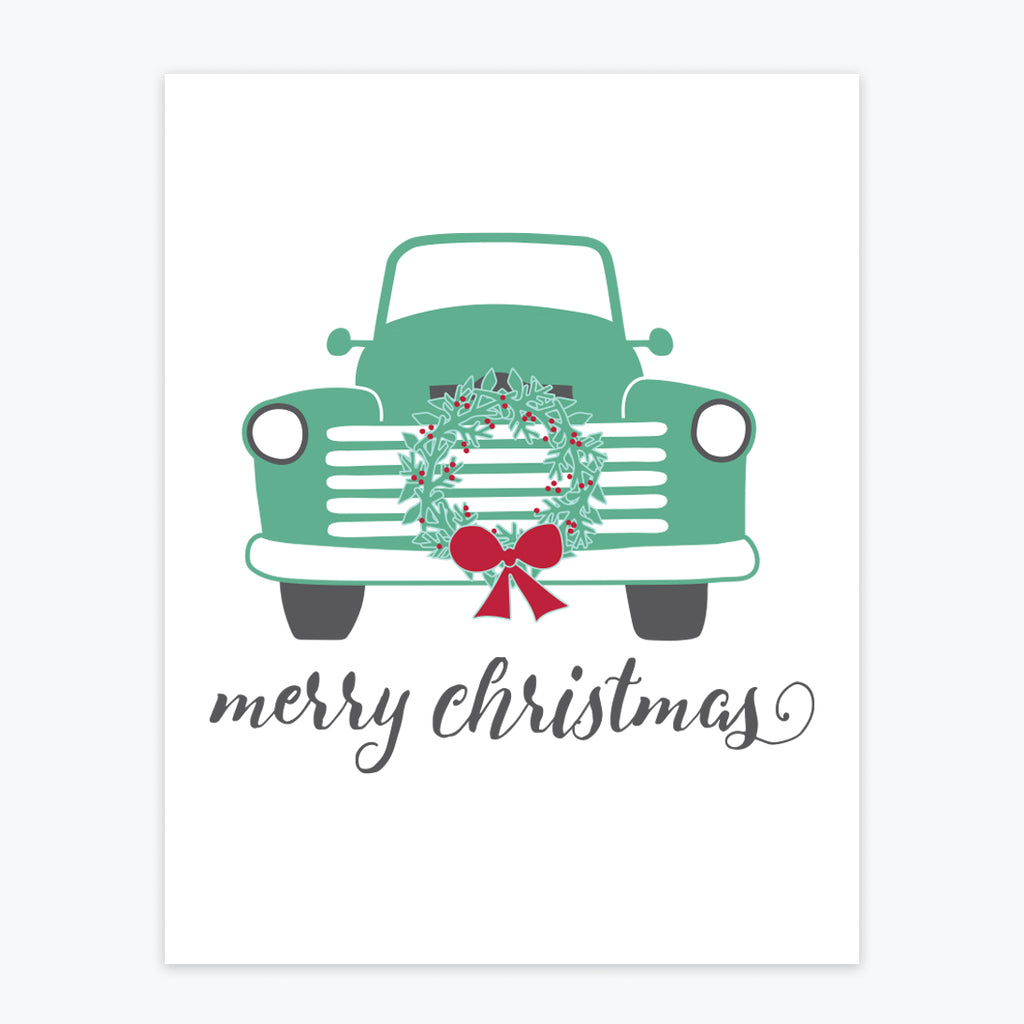 Art Print - Green Truck Christmas