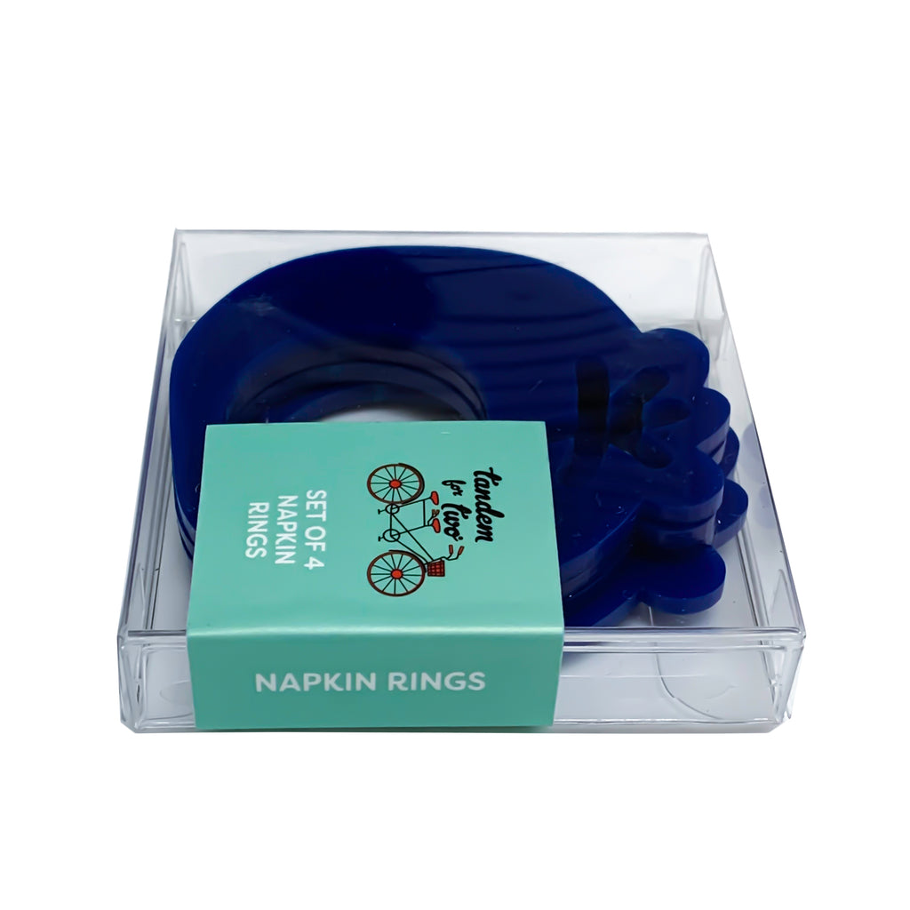 Napkin Rings - Blueberry & Leaves Set of 4 - Tandem For Two