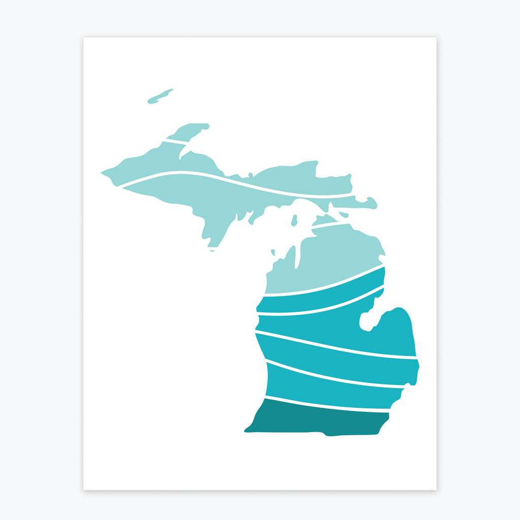 Art Print - Michigan Patterned Silhouette