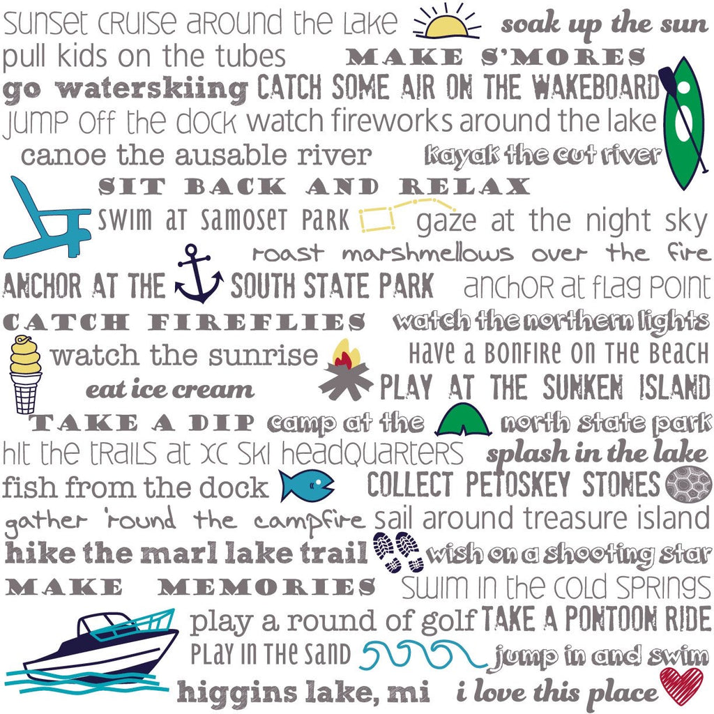 Art Print - Higgins Lake Bucket List - Tandem For Two