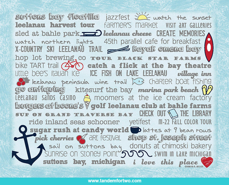 Notecards - Set of 8 Suttons Bay Bucket List - Tandem For Two