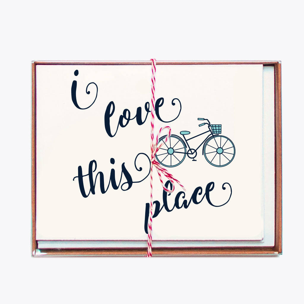 Notecards - Set of 8 I Love Bike