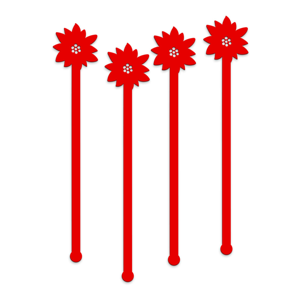 Swizzle Sticks - Poinsettia & Pine Set of 4