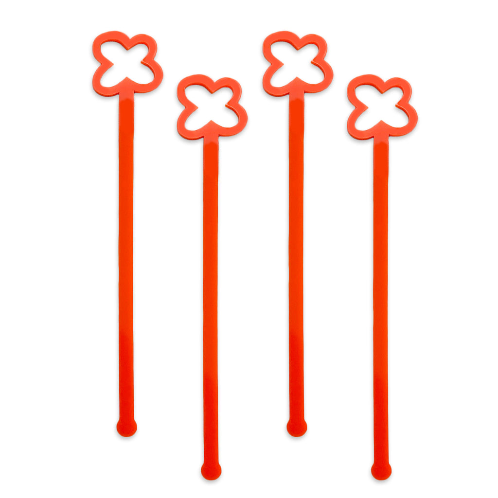 Swizzle Sticks - Poppy & Leaves Set of 4 - Tandem For Two