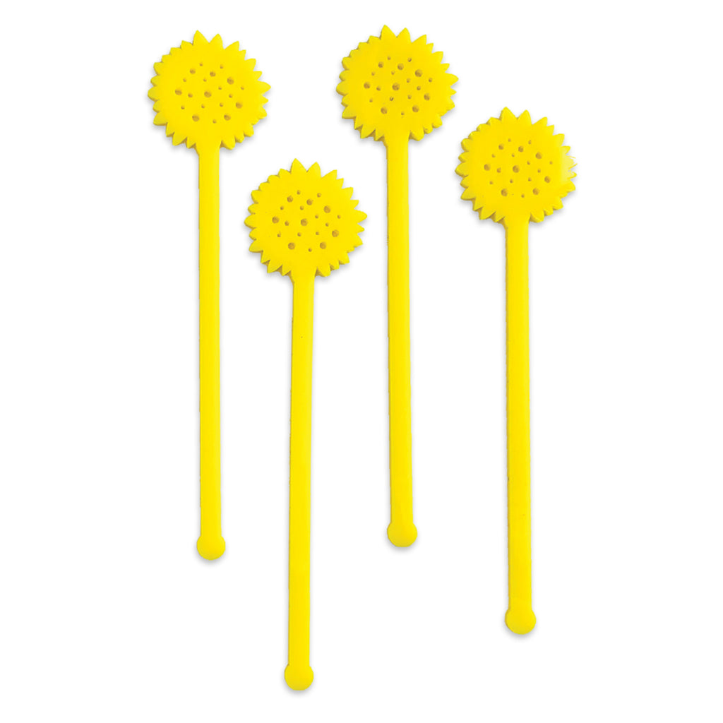 Swizzle Sticks - Sunflowers & Leaves Set of 4 - Tandem For Two