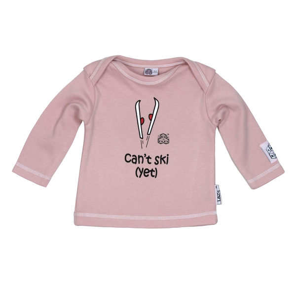 Lazy Baby Gift for Skiers - Can't Ski Yet Pink T Shirt - Lazy Baby