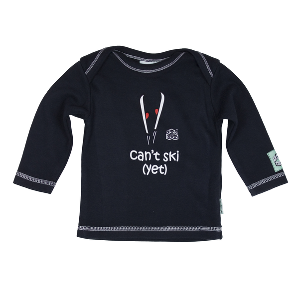 Lazy Baby Gift for Skiers - Can't Ski Yet Navy T Shirt