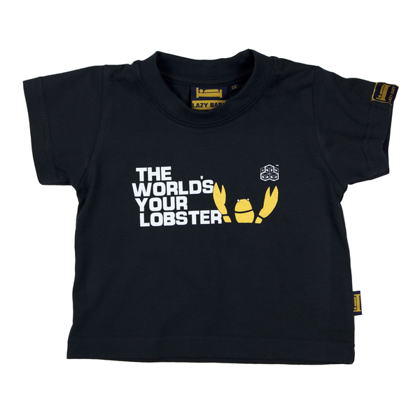 The Worlds Your Lobster Baby T Shirt, Navy - Lazy Baby