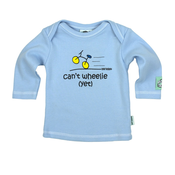 Newborn gift for baby boy cyclist - Can't wheelie yet