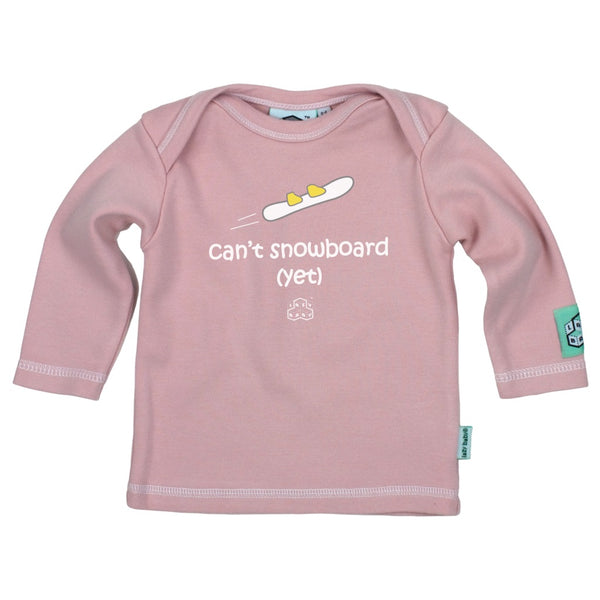 Lazy Baby Gift for Girl Snowboarders - Can't Snowboard Yet Pink T Shirt