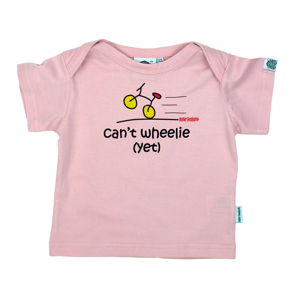 Newborn gift for baby girl cyclist - Can't wheelie yet - Lazy Baby