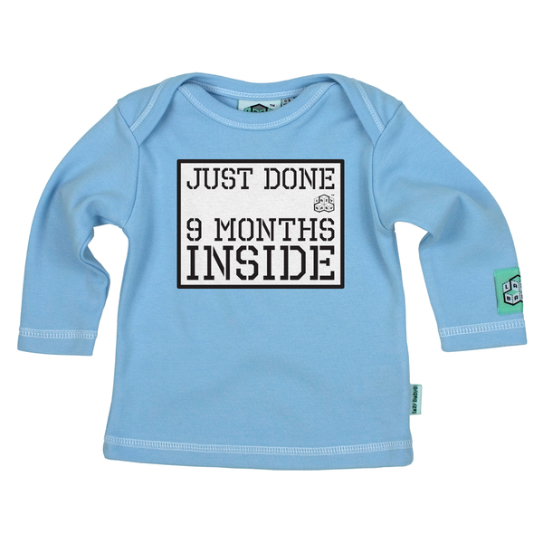 Just Done Nine Months Inside Long Sleeve T Shirt, Sky Blue