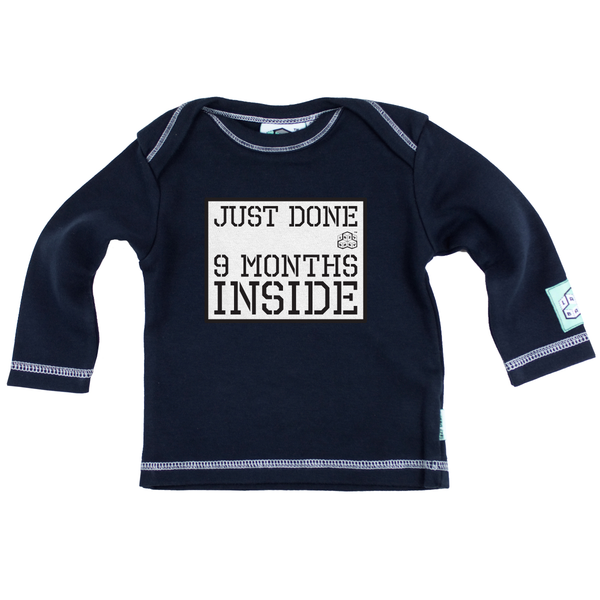 Just Done Nine Months Inside Long Sleeve T Shirt, Navy