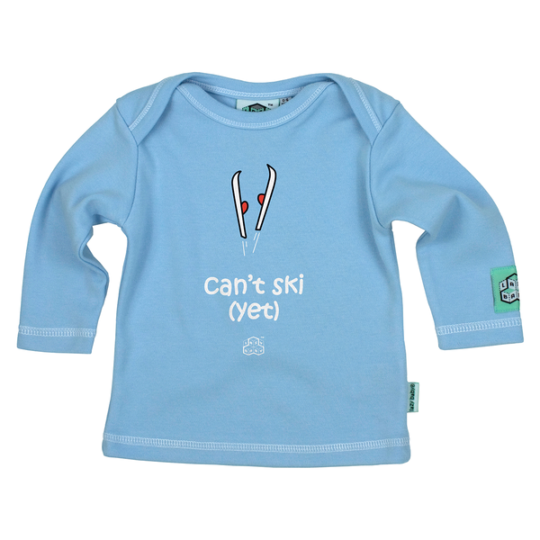 Lazy Baby Gift for Skiers - Can't Ski Yet Blue T Shirt