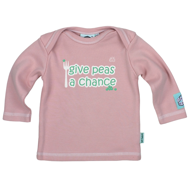Newborn gift for baby girl Give Peas a Chance Long Sleeve T Shirt - Lazy Baby