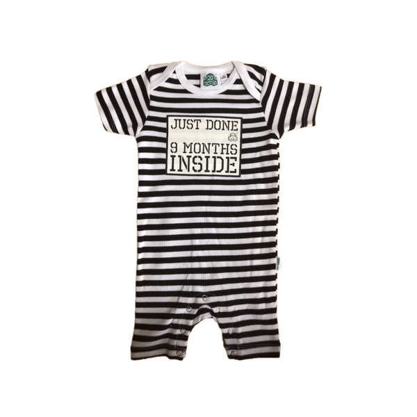 Baby Shower Gift Just Done 9 Months Inside® Short  Sleep Suit - Black/White by Lazy Baby®