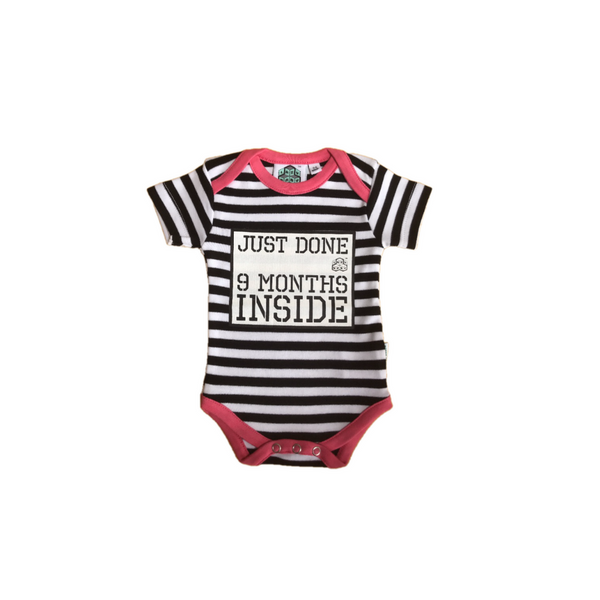 New born gift Just done 9 months inside® Newborn Vest with Pink Trim by lazy baby®