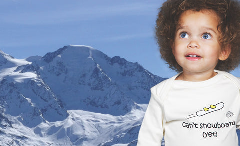 Lazy Baby Gift for Boy Snowboarders - Can't Snowboard Yet Blue T Shirt
