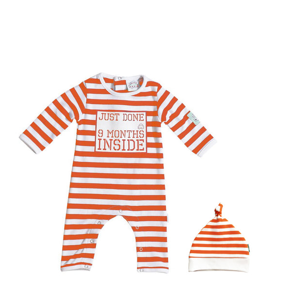 Orange Baby Baby grow Just Done 9 Months Inside® bundle -Baby Shower Gift - Coming Home Outfit - Lazy Baby®