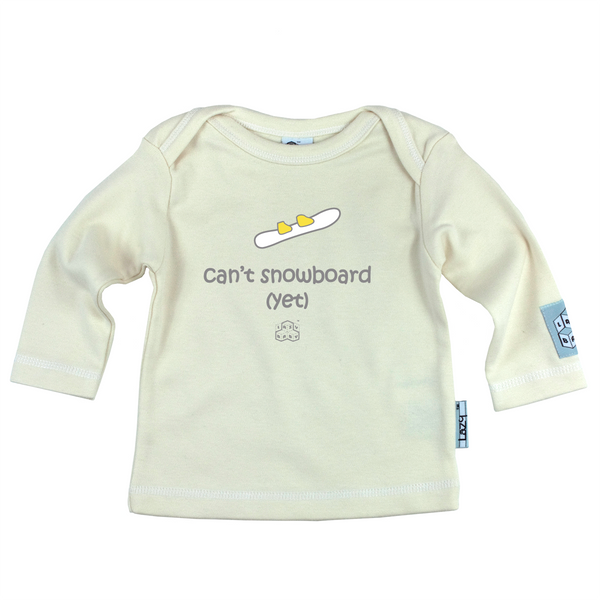 Lazy Baby Gift for Snowboarders - Can't Snowboard Yet Cream T Shirt