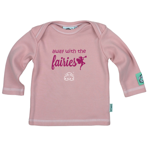 Away With The Fairies Long Sleeve T Shirt, Light Pink