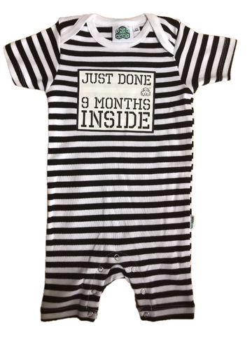 Baby Shower Gift Just Done 9 Months Inside® Short  Sleep Suit - Black/White by Lazy Baby® - Lazy Baby