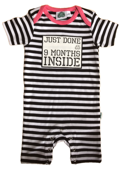Baby Shower Gift Just Done 9 Months Inside® Short Sleep Suit with Pink Trim  by Lazy Baby®