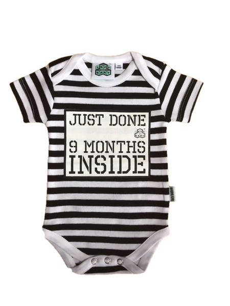 Baby Shower Gift -Just Done 9 Months Inside® Romper & Hat Gift Bundle