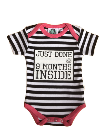 New born gift Just done 9 months inside® Newborn Vest with Pink Trim by lazy baby® - Lazy Baby