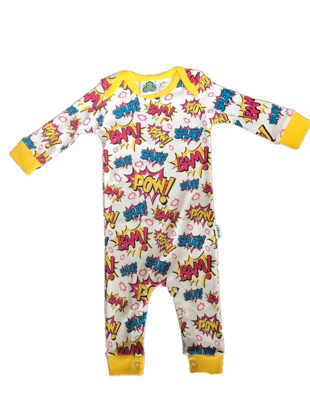 Baby Footless Sleepsuit  super hero POW! by Lazy Baby®