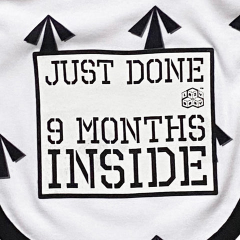 Baby Shower Gift : Just Done 9 Months Inside® : New Born Arrow Bib for Baby Boy Or  Girl By Lazy Baby®