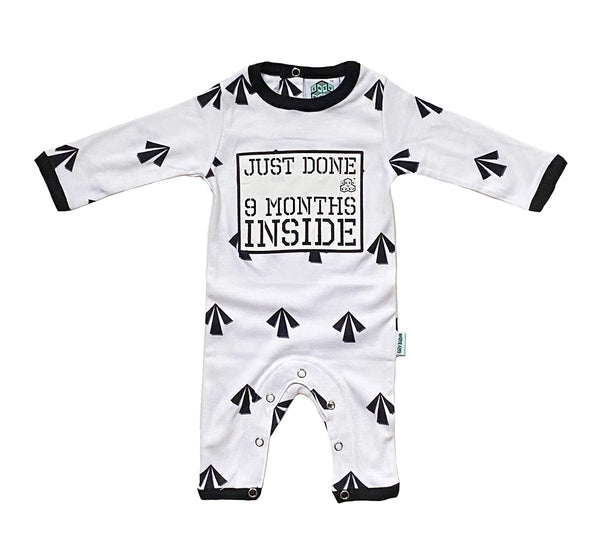 Just Done 9 Months Inside® Arrows New Born Baby Grow- Baby Shower Gift - Coming Home Outfit  by Lazy Baby®