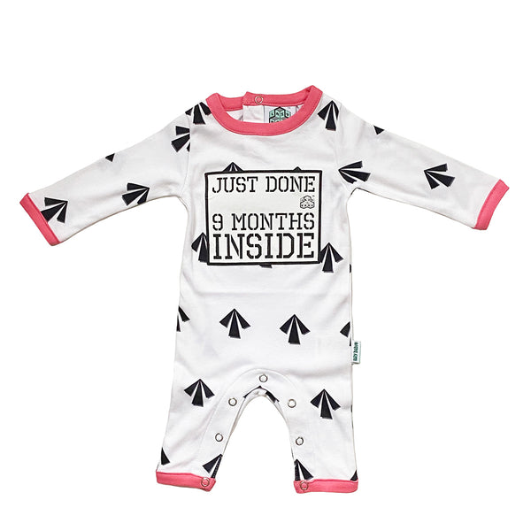 Pregnancy Reveal baby Grow For New Born Girl -Just Done 9 Months Inside®Arrows- Coming Home Outfit by Lazy Baby®