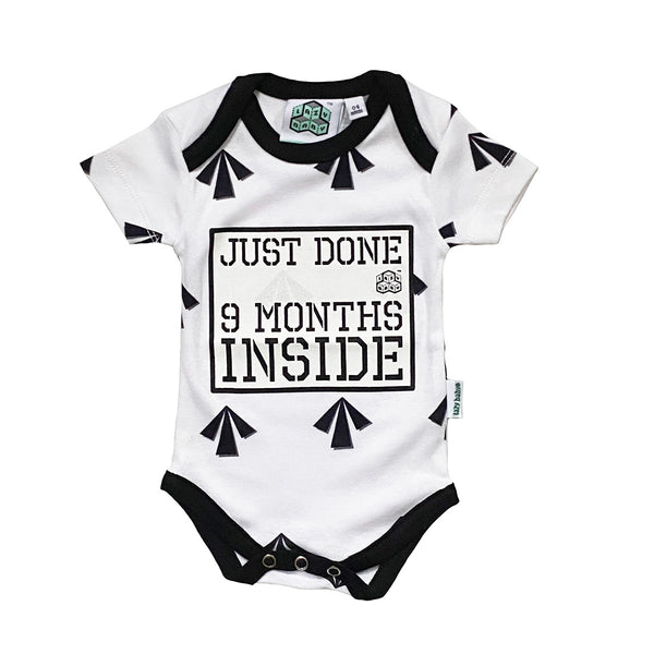 New Born gift -Just Done 9 Months Inside® Arrows Vest - Pregnancy Reveal - Coming Home Outfit - Baby Announcement