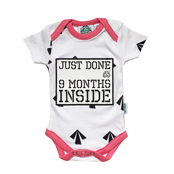 New born gift Just done 9 months inside® Arrows Newborn Vest with Pink Trim by lazy baby®