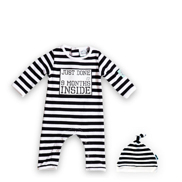 Baby Shower gift Bundle: Just Done 9 Months Inside® Baby Grow and Hat Black
