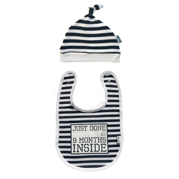 Baby Shower Gift-Just Done 9 Months Inside®-Unisex New Born Bib & Hat - Lazy Baby