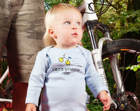 Newborn gift for cyclist - Can't wheelie yet - Lazy Baby