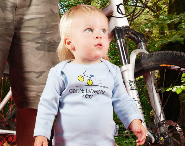 Newborn gift for baby boy cyclist - Can't wheelie yet - Lazy Baby
