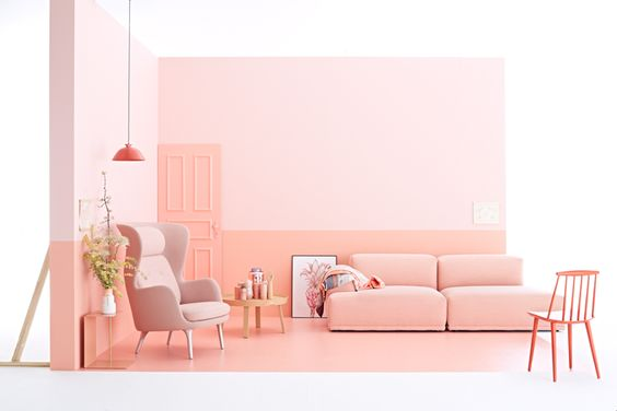 Lovely livingroom set styled by Irina Graewe, Pinkish colour trends for spring 2016