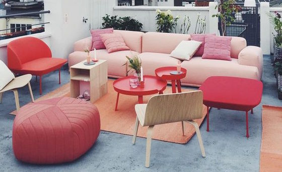 Rooftop party Muuto perfect combination of our pinkish colour trends for spring 2016 in interiors.