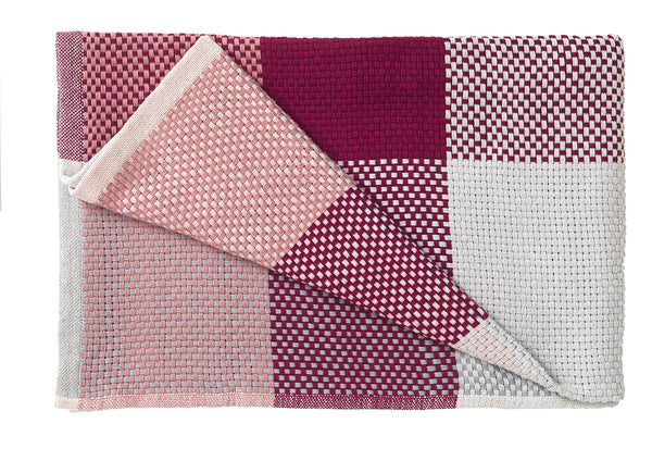 Loom throw, Muuto hand woven, multiple tones, pink, red, rose, nude