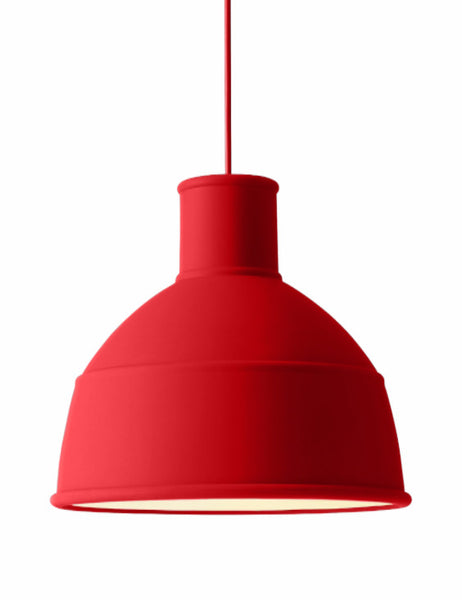 Unfold pendant lamp in dusty red, soft silicon rubber, from Muuto