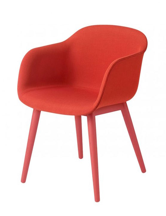 Fiber arm chair, wood base upholstery, dusty red Muuto