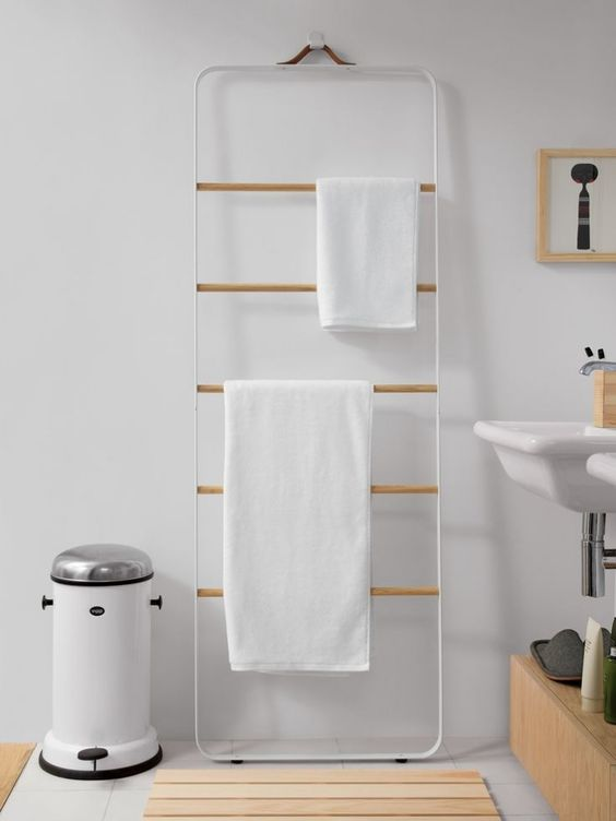 Towel ladder white by Norm Architects for Menu A/S inspiration bathrooms