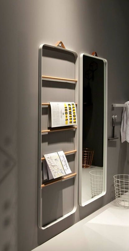 Towel ladder and Norm floor mirror in white, Menu A/S bathroom inspiration